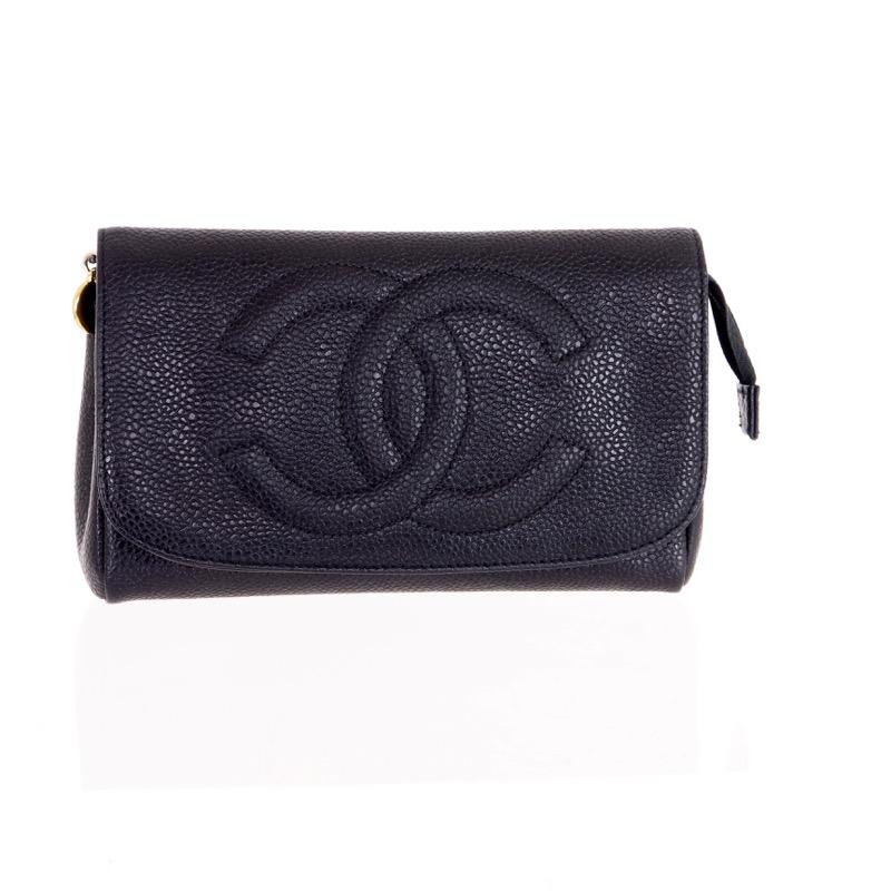 69616f627cb2 Vine Chanel Caviar Skin Clutch Purse Mirror Pouch Nina Furfur