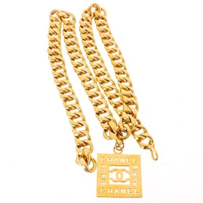 Vintage Chanel Massive Chunky Chain Square Medallion  Belt