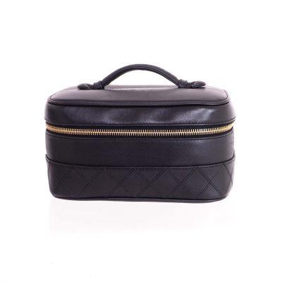 Vintage Chanel Vanity Case Quilted Sheep Skin Hand Bag