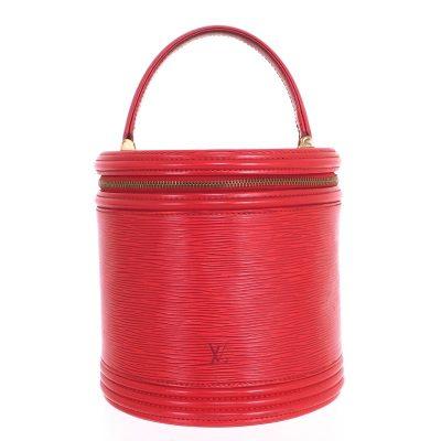 Vintage Louis Vuitton Vanity Case Epi Red Canne M48037 Hand Bag