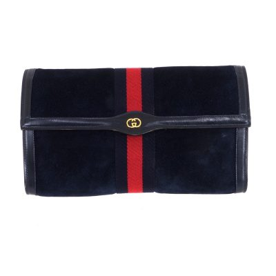 Vintage Gucci Large Size Suede Blue Red  Clutch Bag