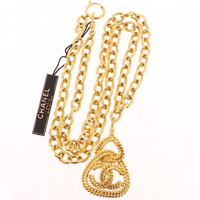Vintage Chanel NWT Gold Plated Long Chain Excellent Necklace