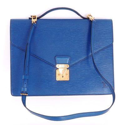 Vintage Louis Vuitton Blue Epi Bandouliere Document Briefcase Strap Hand Bag