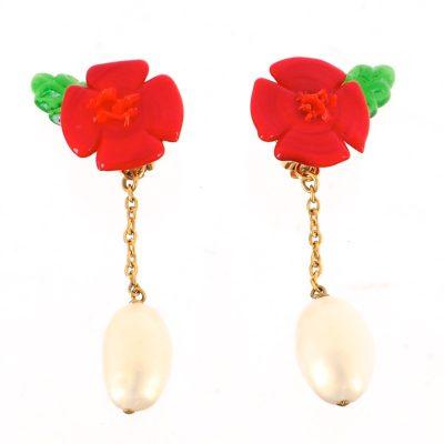 Vintage Chanel Gripoix Faux Pearl Dangle Rare Floral Earrings