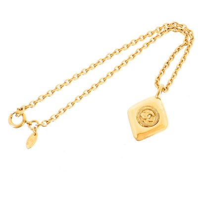 Vintage Chanel Gold Diamond Tag Chain Excellent  Necklace