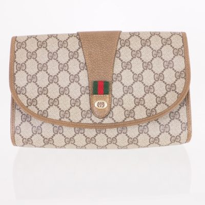 Vintage Gucci Monogram MM Beige Round Flap Clutch Bag