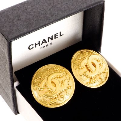 Vintage Chanel Arabesque Pattern Round Button Large Earrings