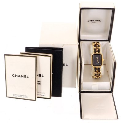 Vintage Chanel Premiere Chain Gold Signature L Size Watch