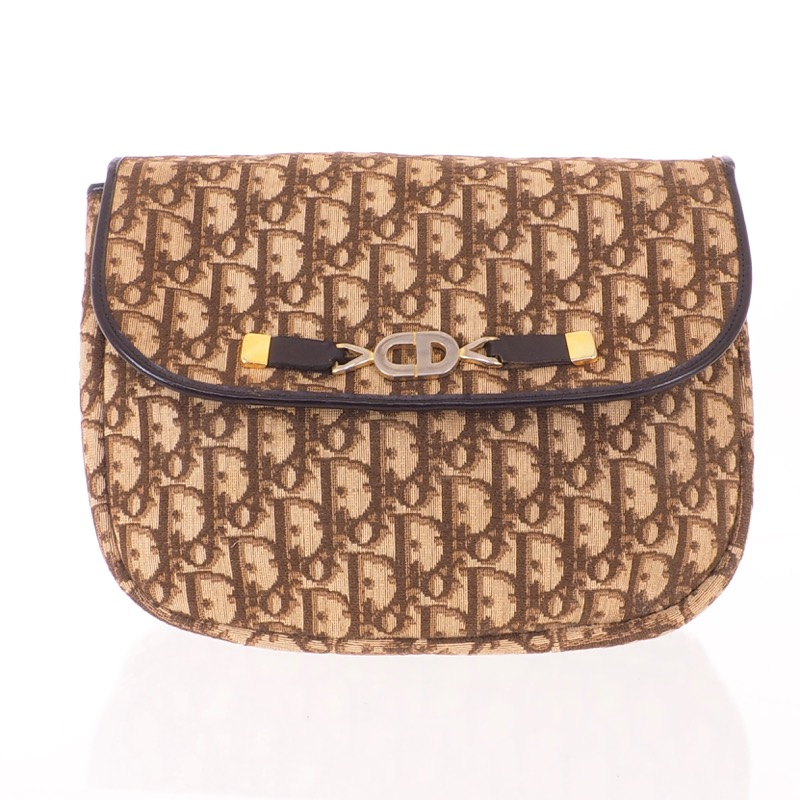 27aa4424efc9 Vintage Christian Dior Monogram Brown CD Large Clutch Bag - Nina ...