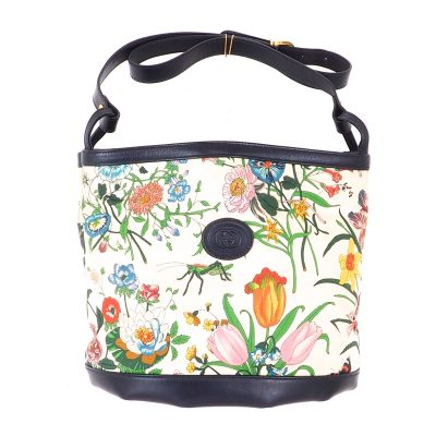 Vintage Gucci Floral Printed Canvas Bucket  Shoulder Bag