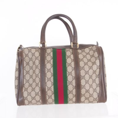 Vintage Gucci Monogram Canvas Ribbon Speedy Hand Bag