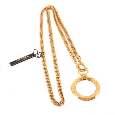 Vintage Chanel New With Tag Long Chain Loupe Necklace