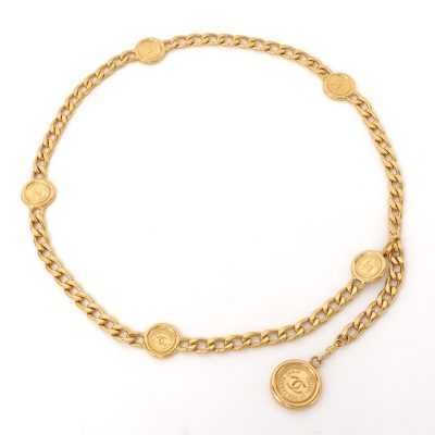 Vintage Chanel Multi Coin Chunky Chain Necklace Belt