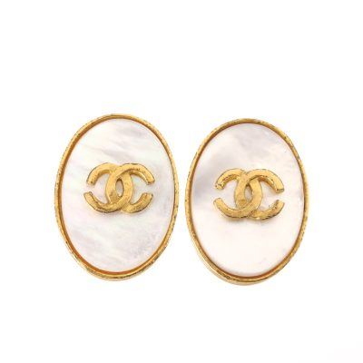 Vintage Chanel White Shell CC Logo Rare Oval Earrings