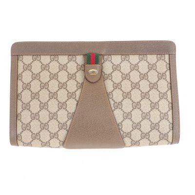 Vintage Gucci Large GG Beige Excellent Pristine  Clutch Bag