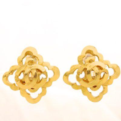 Vintage Chanel Gold CC Decorative  Earrings