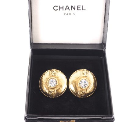 Vintage Chanel Eight CC Logo Large Button Round Earrings