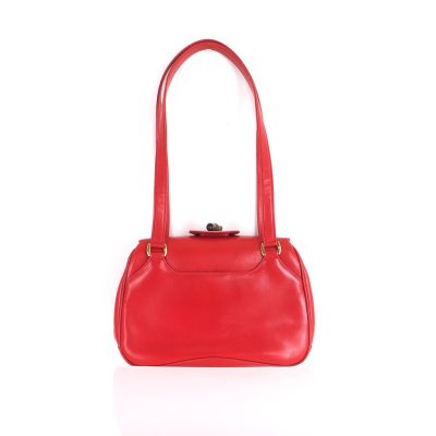 Vintage Gucci Red Bamboo Closure Shoulder Hand Bag