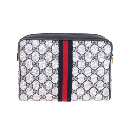 Vintage Gucci Blue Red Monogram Excellent Pouch Clutch Bag