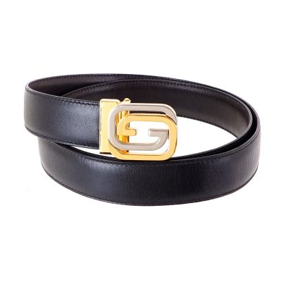 Vintage Gucci Gold Silver GG 90-36 Large Unisex Belt
