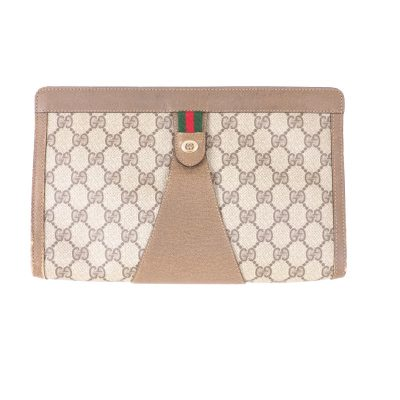 Vintage Gucci Large Monogram Beige  Clutch Bag