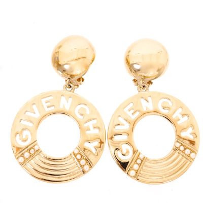 Vintage Givenchy Extremely Rare Hoop Large Dangle Excrellent Earrings