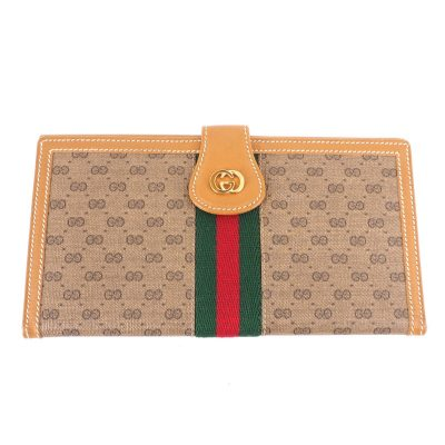 Vintage Gucci Bi Fold Long Clutch Micro GG  Wallet