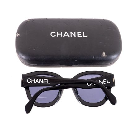 Vintage Chanel Rare White Letter Black Frame  Sunglasses