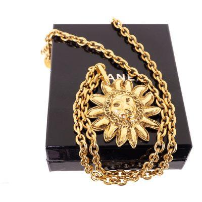 Vintage Chanel Leo Lion CC Logo Pattern Long Chain  Necklace