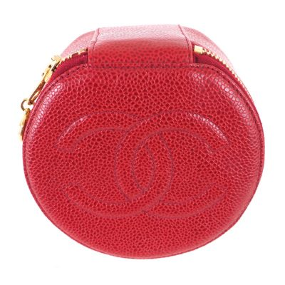 Vintage Chanel Lipstick Red Signature Large Caviar Jewelry Case Pouch
