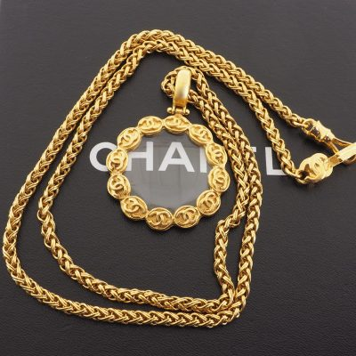 Vintage Chanel Massive CC Logo Long Chain Loupe Necklace
