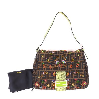Vintage Fendi Zucca Mamma Baguette Beads Exotic Leather Hand Bag