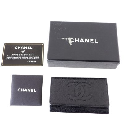 Vintage Chanel Caviar Skin Black 6 Ring Keychain  Accessory