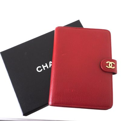 Vintage Chanel Lipstick Red Agenda Six Ring Cover Accessory