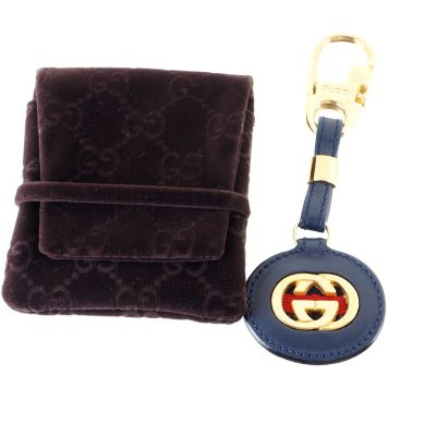 Vintage Gucci GG Leather Blue Red Key Chain Charm  Accessory
