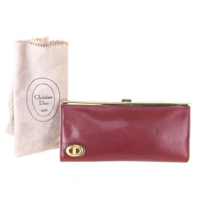 Vintage Christian Dior Modele Exclusif Burgundy Red Leather Rare Clutch Bag