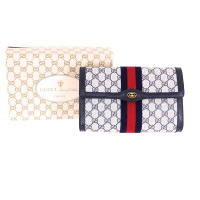 Vintage Gucci Pristine NIB Excellent Blue Red Monogram GG Clutch Bag
