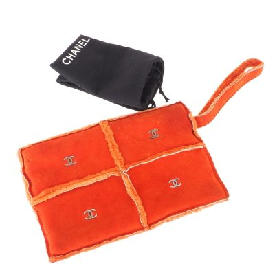 Vintage Chanel Orange Mouton CC Logo Single Hoop Clutch Bag