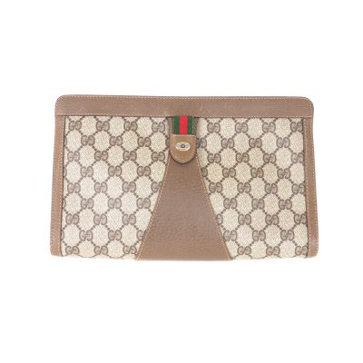 Vintage Gucci Large Monogram Beige Paper Tag Clutch Bag