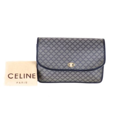Vintage Celine Blue Monogram Pattern Excellent Envelope Clutch Bag