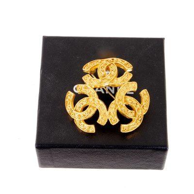 Vintage Chanel Tri Logo Arabesque Pattern Pristine  Brooch
