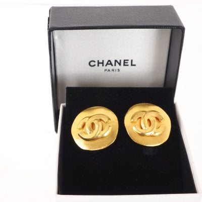 Vintage Chanel Round Chunky Gold Button Simple Earrings