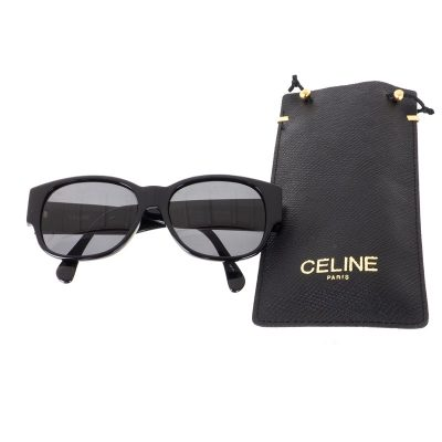 Vintage Celine Black Simple Wide Temple Excellent  Sunglasses