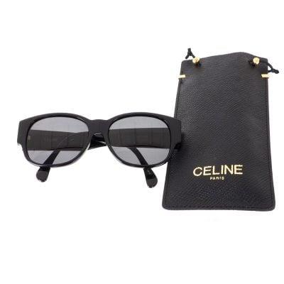 Vintage Celine Black Simple Wide Temple Excellent  Sunglasses