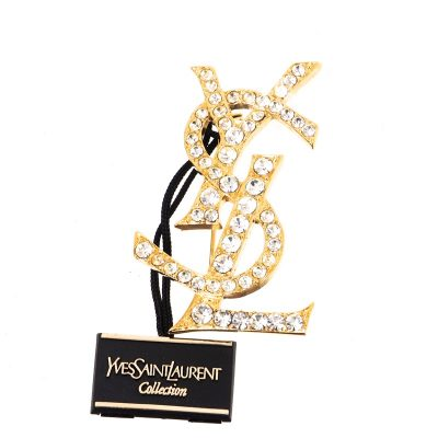 Vintage Yves Saint Laurent NWT New YSL Rhinestone Pin Brooch