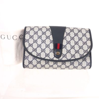 Vintage Gucci Monogram Blue Pattern GG M Sized Clutch Bag