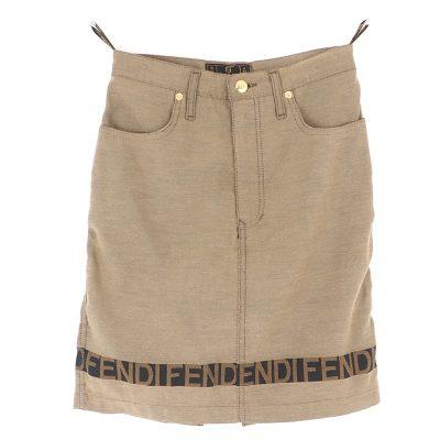 Vintage Fendi Jean Skirt Logo Print It 42 28 inch Clothing