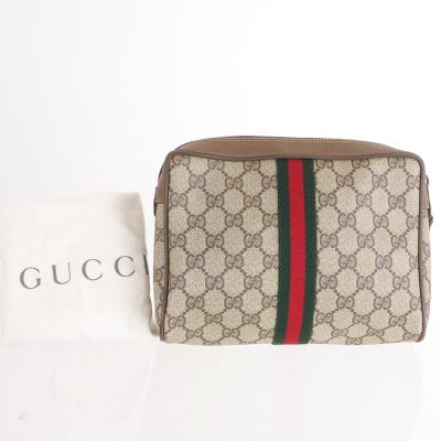 Vintage Gucci Monogram Canvas Ribbon Paper Certificate Clutch Bag