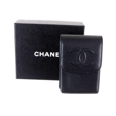 Vintage Chanel Black Caviar Mini Case Bag Pouch