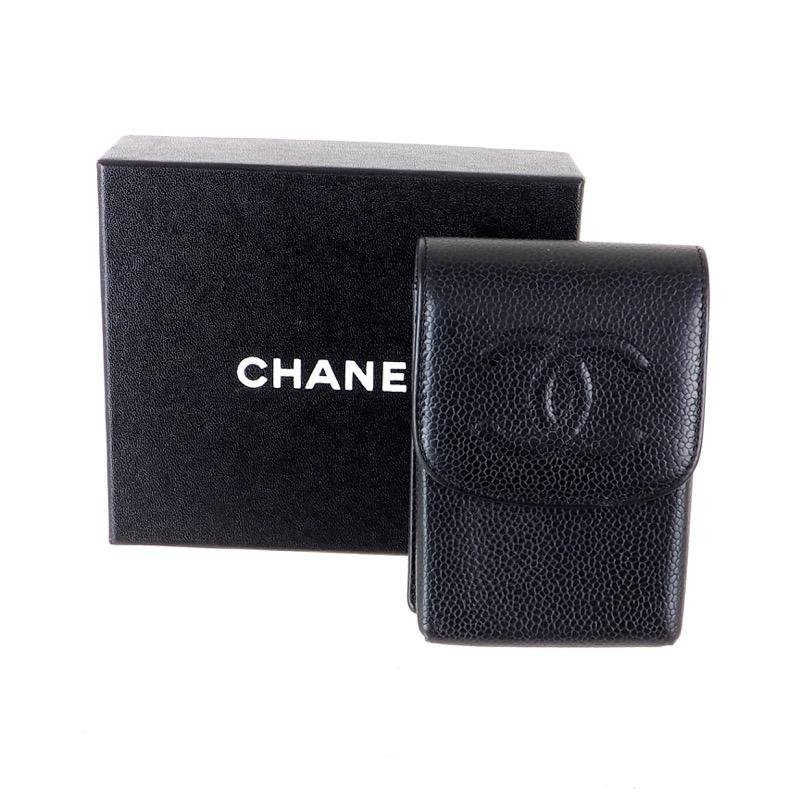 Vintage Chanel Black Caviar Mini Case Bag Pouch - Nina Furfur ... db9592241ce5f
